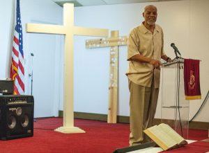 Preston Love Jr. speaks at a Juneteenth prayer gathering. Z LONG/THE WORLD-HERALD