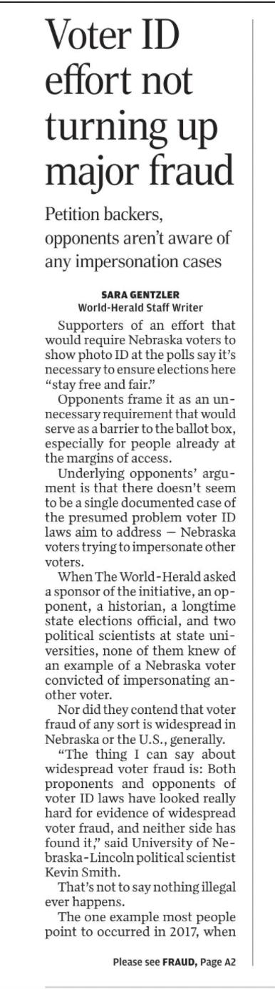 Voter ID, no major fraud, A1, Sunday, 22 AUG 21